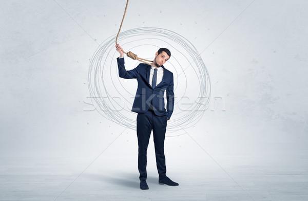 сотрудник самоубийства молодые элегантный бизнесмен Сток-фото © ra2studio