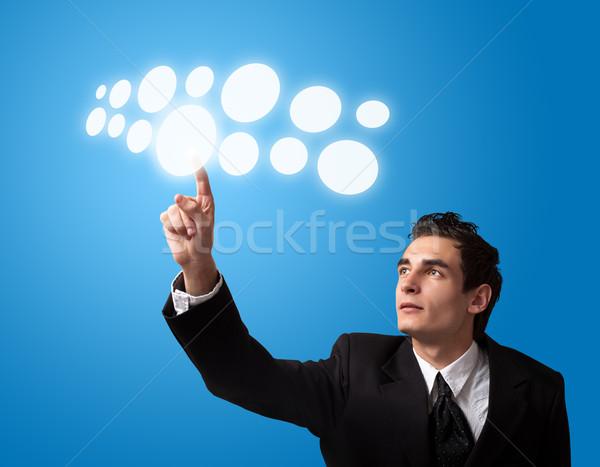 человека кнопки деловой человек компьютер Сток-фото © ra2studio