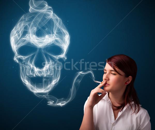 курение опасный сигарету токсичный череп Сток-фото © ra2studio