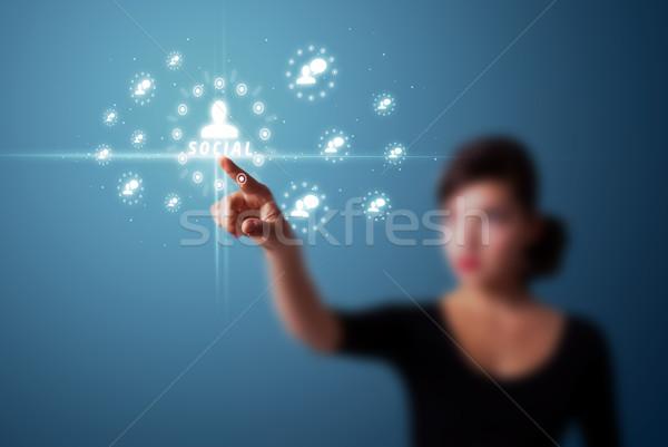 üzletasszony kisajtolás modern társasági ikonok Stock fotó © ra2studio