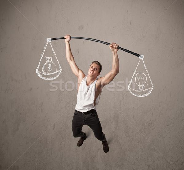 筋肉の 男 バランスのとれた 強い ジム 行使 ストックフォト © ra2studio