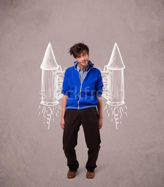 Cute man with jet pack rocket drawing illustration Stock photo © ra2studio