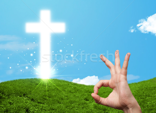 Feliz dedo smileys cristão religião atravessar Foto stock © ra2studio