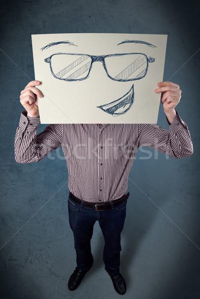 Zakenman papier jonge hoofd Stockfoto © ra2studio