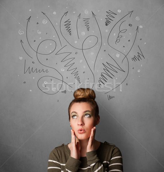 ストックフォト: 若い女性 · 思考 · 頭 · かなり · 女性