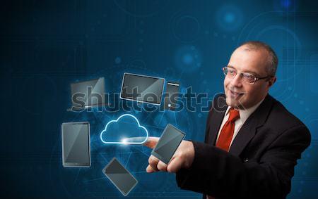ビジネスマン 触れる ハイテク 雲 サービス 立って ストックフォト © ra2studio