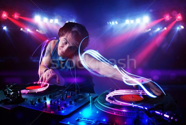 ディスクジョッキー 演奏 音楽 光 ビーム 効果 ストックフォト © ra2studio
