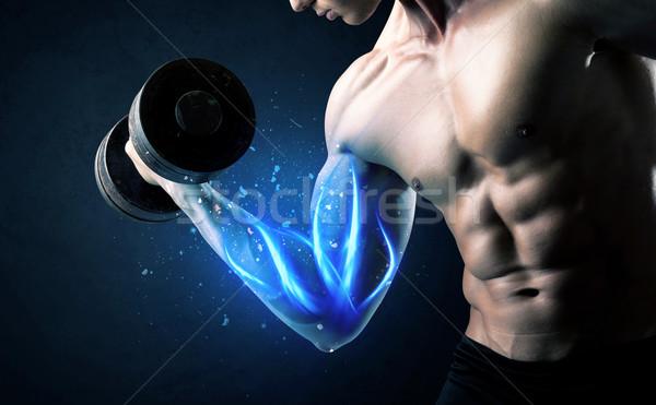 Caber atleta peso azul músculo Foto stock © ra2studio