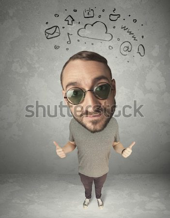 Big head person with social media marks Stock photo © ra2studio