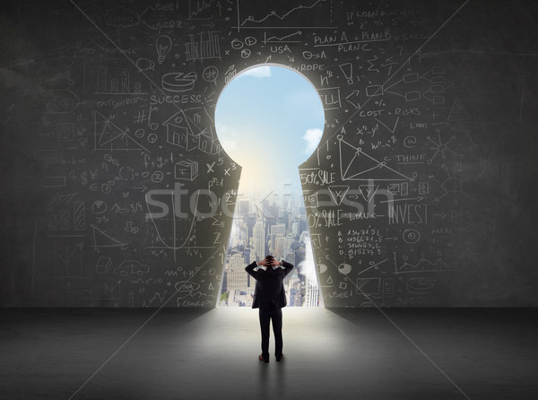 Business man looking at keyhole with bright cityscape concept  Stock photo © ra2studio