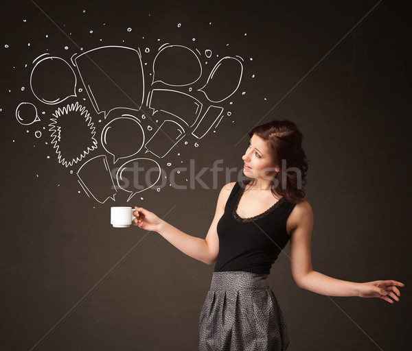 Empresária branco copo em pé Foto stock © ra2studio