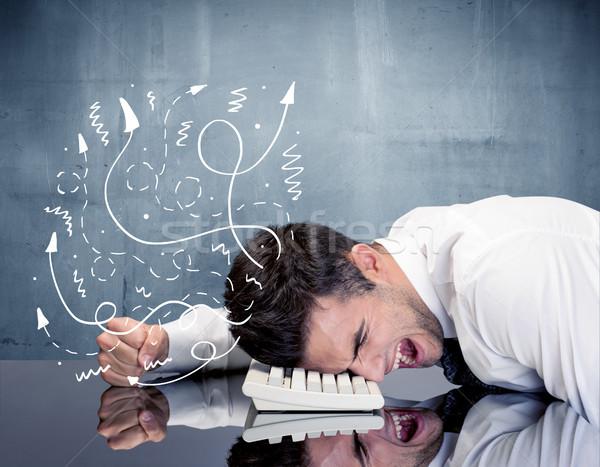 Uomo d'affari frustrato pensieri depresso imprenditore riposo Foto d'archivio © ra2studio