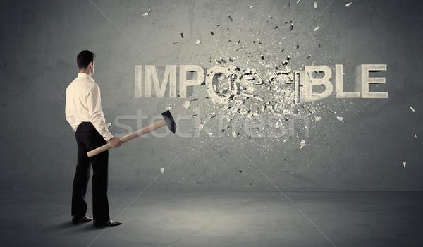 ストックフォト: ビジネスマン · 不可能 · にログイン · ハンマー · 壁