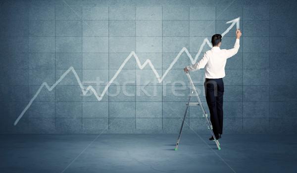человека рисунок линия лестнице Постоянный диаграммы Сток-фото © ra2studio