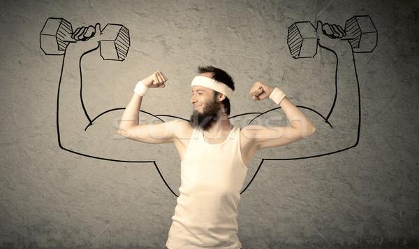 スリム 男性 強い 小さな 大学生 あごひげ ストックフォト © ra2studio