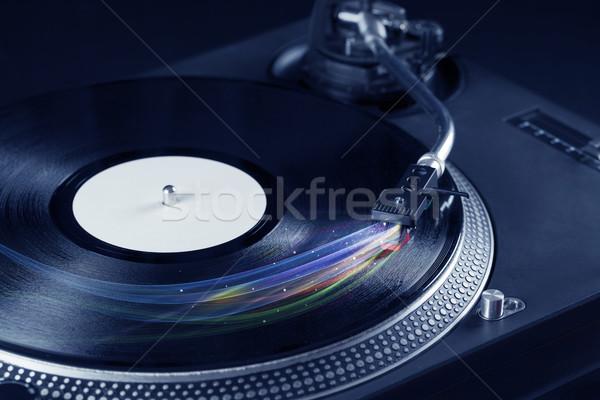 Zenelejátszó játszik bakelit zene színes absztrakt Stock fotó © ra2studio