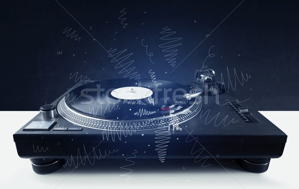 Draaitafel spelen muziek kruis lijnen Stockfoto © ra2studio