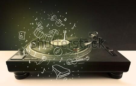Draaitafel spelen klassieke muziek icon muziek Stockfoto © ra2studio