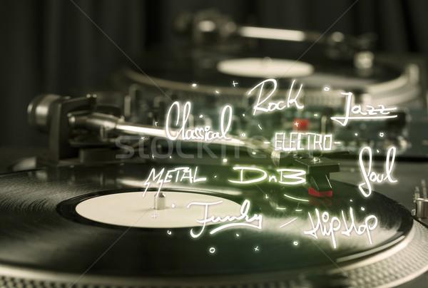 Draaitafel vinyl muziek metaal plaat zwarte Stockfoto © ra2studio