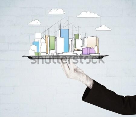 Hand stad wolken dienblad Stockfoto © ra2studio