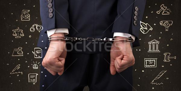 Szimbólumok bíróság megbilincselve férfi kréta rajzolt Stock fotó © ra2studio
