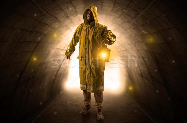 человека ходьбе фонарь темно туннель уродливые Сток-фото © ra2studio