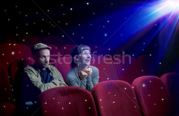 Photo stock: Couple · regarder · 3D · film · peu