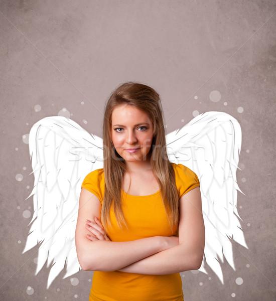 Cute человек ангела иллюстрированный крыльями Сток-фото © ra2studio