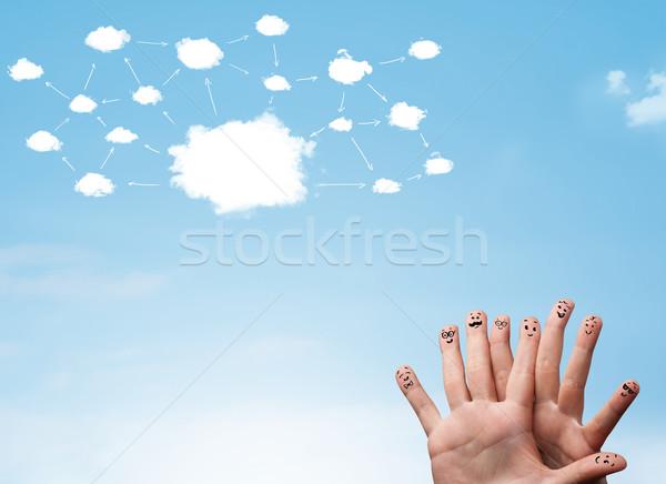 Vinger cloud-netwerk gezichten hand familie Stockfoto © ra2studio
