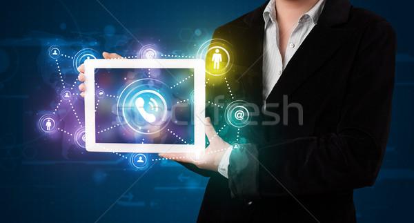 женщину социальной сетей технологий красочный Сток-фото © ra2studio