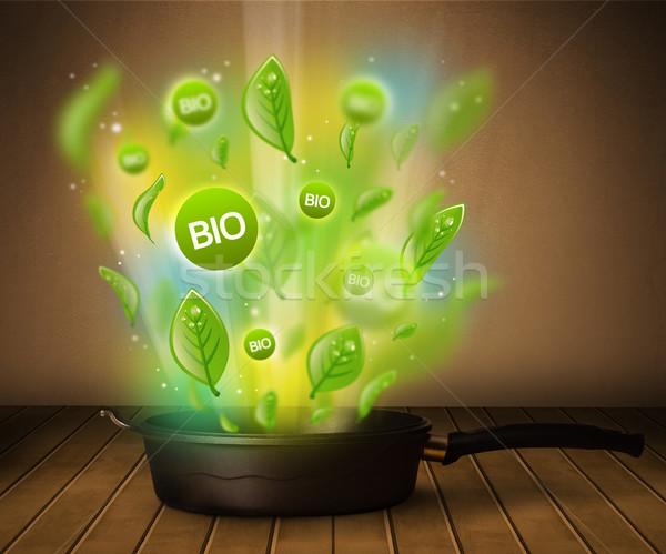 Bio sinais fora panela saudável saúde Foto stock © ra2studio