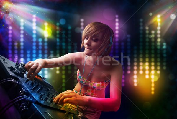 Dziewczyna gry disco świetle pokaż dość Zdjęcia stock © ra2studio