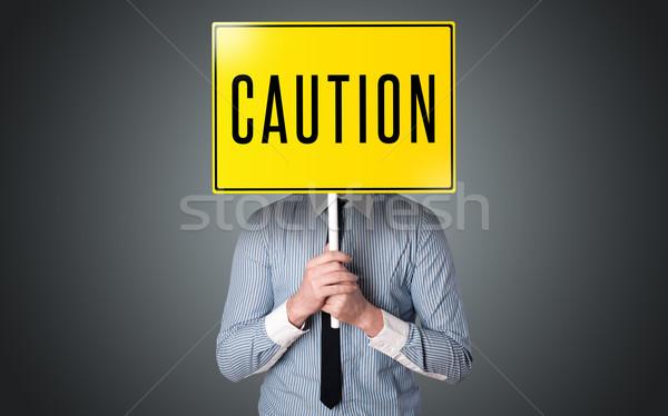 ビジネスマン 注意 にログイン 立って 黄色 ストックフォト © ra2studio