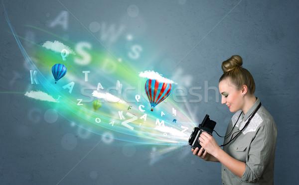 Stockfoto: Fotograaf · camera · abstract · denkbeeldig · cute · meisje