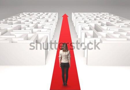 Photo stock: Femme · d'affaires · labyrinthe · réussi · simple · solution · femme
