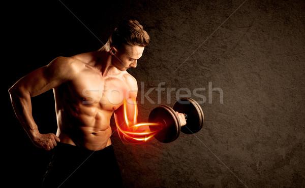 Caber musculação peso vermelho músculo Foto stock © ra2studio