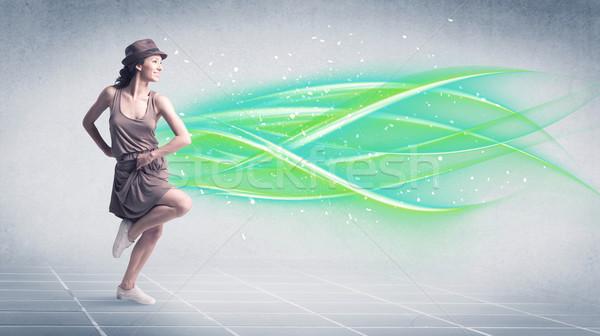 ヒップホップ ダンサー ポーズ 緑 行 格好良い ストックフォト © ra2studio