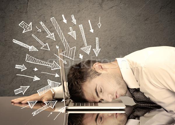Frecce punta triste impiegato sfinito uomo d'affari Foto d'archivio © ra2studio