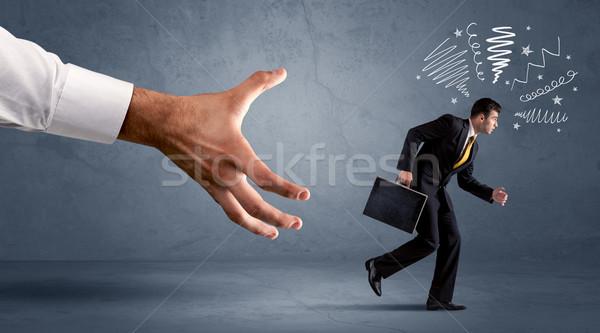 ストレスの多い ビジネスマン を実行して ビッグ 手 オフィス ストックフォト © ra2studio