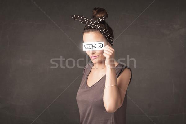 Boldog lány néz kézzel rajzolt papír szem szemüveg Stock fotó © ra2studio