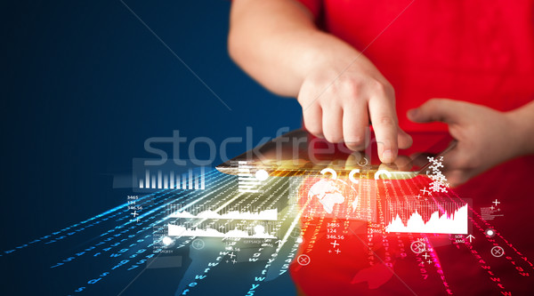 Hand touchpad tablet business markt Stockfoto © ra2studio