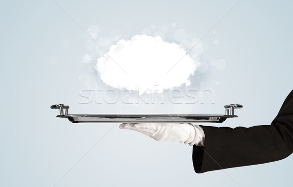Hand holding clear big cloud on tray Stock photo © ra2studio