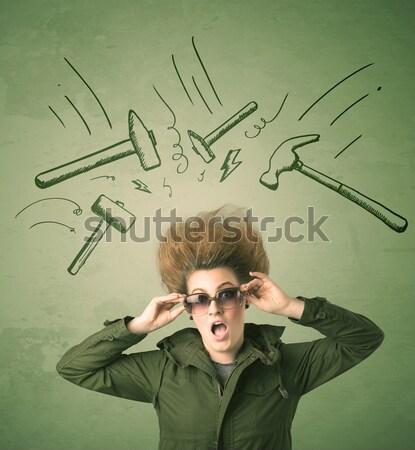 Jeune femme coupe de cheveux dessinés à la main signes cheveux fond Photo stock © ra2studio