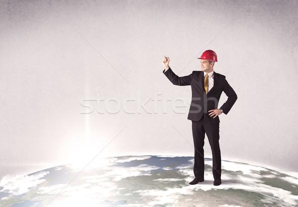 Człowiek stałego miasta krajobraz młodych elegancki Zdjęcia stock © ra2studio