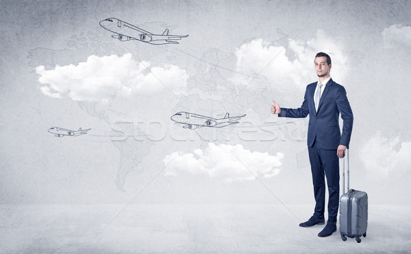 Businessman hitchhiking with airplanes around Stock photo © ra2studio