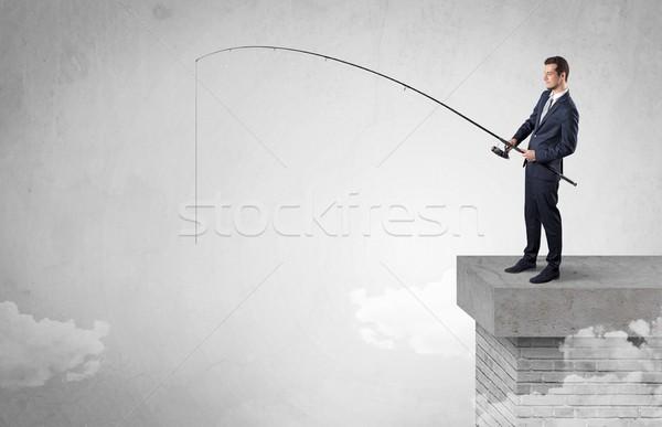 üzletember halászat semmi felső felhő szabad Stock fotó © ra2studio