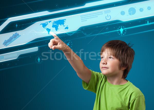 Businessman pressing high tech type of modern buttons Stock photo © ra2studio