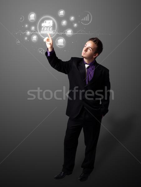Stock fotó: üzletember · kisajtolás · promóció · szállítás · modern