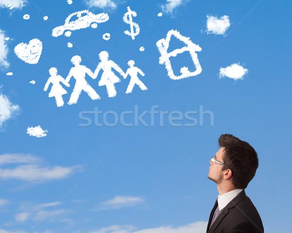 ビジネスマン 空想 家族 家庭 雲 青空 ストックフォト © ra2studio