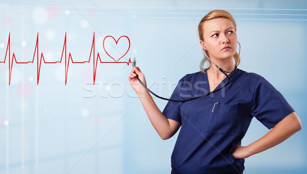 小さな 看護 リスニング 抽象的な パルス 赤 ストックフォト © ra2studio